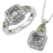 Asscher Cut Green Amethyst, Hebei Peridot, Cambodian Zircon Platinum Over Sterling Silver Ring (Size 9) and Pendant With Chain (20 in) TGW 5.90 cts.