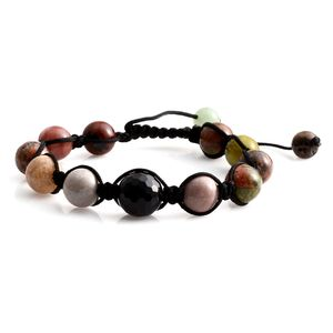 Multi Gemstone Bracelet on Black Cord (Adjustable) TGW 88.00 cts.