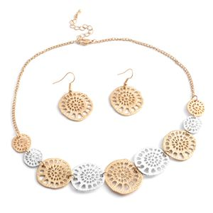 Goldtone and Silvertone Earrings and Necklace (17-19 in)