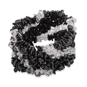 Australian Black Tourmaline, Brazilian Crystal Quartz Chips Widen Bracelet (Stretchable) TGW 457.00 cts.