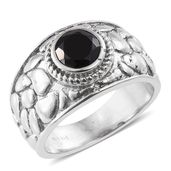Thai Black Spinel Stainless Steel Pebbled Solitaire Ring (Size 7.0) TGW 1.65 cts.