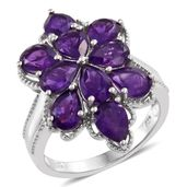 Dan's Collector Deal Lusaka Amethyst Platinum Over Sterling Silver Flower Ring (Size 10.0) TGW 6.85 cts.