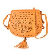 Mustard Laser Cut Faux Leather Crossbody Bag (8.4x2.6x7.1 in)