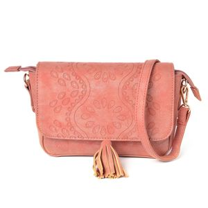 Orange Embossed Flower Pattern Faux Leather Crossbody Bag (10.2x2.4x6 in)