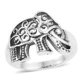 Artisan Crafted Sterling Silver Elephant Ring (Size 8.0)