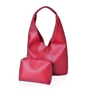 Red Faux Leather Hobo Bag (16x5x12 in) with Matching Pouch (11x8 in)