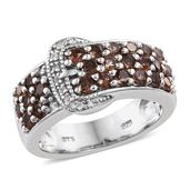 Jenipapo Andalusite, Cambodian Zircon Platinum Over Sterling Silver Buckle Ring (Size 6.0) TGW 2.00 cts.