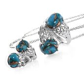 Mojave Blue Turquoise Stainless Steel Earrings, Ring (Size 7) and Pendant With Chain (20 in) TGW 14.76 cts.