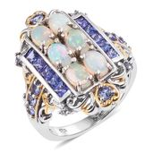Ethiopian Welo Opal, Tanzanite 14K YG and Platinum Over Sterling Silver Ring (Size 8.0) TGW 3.50 cts.