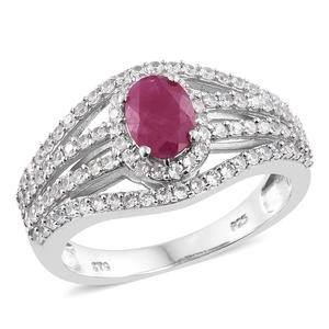 Burmese Ruby, Cambodian Zircon Platinum Over Sterling Silver Openwork Ring (Size 5.0) TGW 2.45 cts.