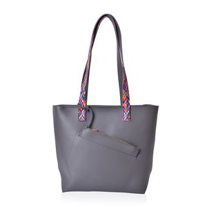 Dark Gray Faux Leather Multi Color Tribal Print Strap Tote with Matching Removable Wristlet (15.5x5.5x11.5 in)