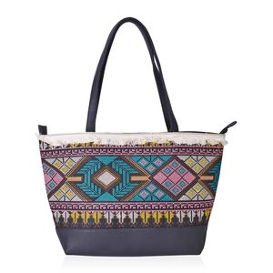Black Faux Leather Santa Fe Embroidered Tote with Fringes (17.5x6.5x10.5 in)