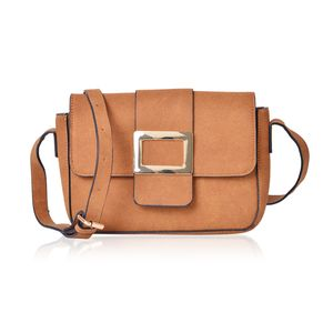 Camel Faux Leather Fold Over Buckle Sling Bag (9.5x2.5x7 in)