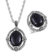 One Day TLV Black Onyx Black Oxidized Stainless Steel Ring (Size 7) and Pendant With Chain (20 in) TGW 15.00 cts.