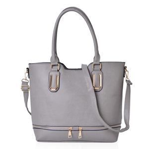 Grey Faux Leather Tote Bag with Metallic Zipper (15.2x12.1x11.4 in)