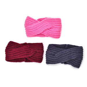 100% Polyester Set of 3 Wine Red, Pink and Dark Gray Winter Criss Cross Hairbands (5x9 in)