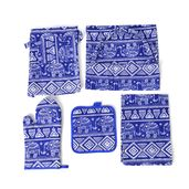 Multi Color Elephant Pattern 65% Cotton and 35% Polyester Kitchen Set in a Bag (Apron, Glove, Pot Holder and Kitchen Towel)