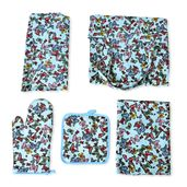 Multi Color Butterfly Pattern 65% Cotton and 35% Polyester Kitchen Set in a Bag (Apron, Glove, Pot Holder and Kitchen Towel)