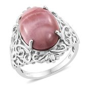 Web Exclusive Doorbuster Australian Pink Opal Platinum Over Sterling Silver Ring (Size 11.0) TGW 10.00 cts.