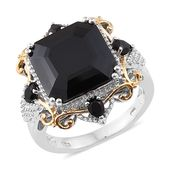 Asscher Cut Thai Black Spinel 14K YG and Platinum Over Sterling Silver Cocktail Ring (Size 6.0) TGW 16.30 cts.