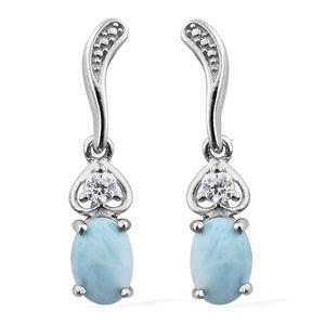 Larimar, Simulated Diamond Platinum Bond Brass Dangle Earrings TGW 2.14 cts.