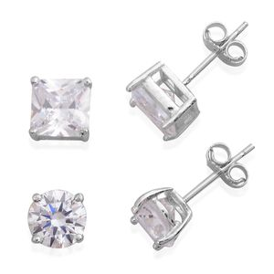 Simulated Diamond Sterling Silver Set of 2 Earrings TGW 7.06 cts.