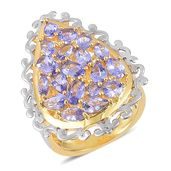 Tanzanite 14K YG Over Sterling Silver Cluster Ring (Size 8.0) TGW 3.31 cts.