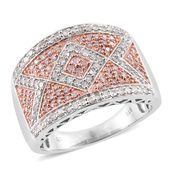 Natural Pink Diamond, Diamond 14K RG and Platinum Over Sterling Silver Band Ring (Size 7.0) TDiaWt 0.97 cts, TGW 0.97 cts.
