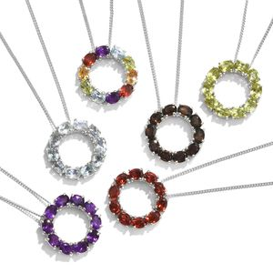 One Day TLV Set of 6 Multi Gemstone Platinum Over Sterling Silver Open Circle Pendants With Chains (20 in) TGW 11.54 cts.