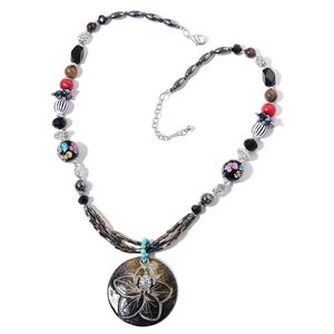 Kevin's Presidential Deal Multi Gemstone Beads Silvertone Necklace (27 in) TGW 395.00 cts.