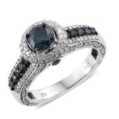Blue Diamond (IR), Diamond Platinum Over Sterling Silver Royal Ring (Size 8.0) TDiaWt 2.50 cts, TGW 2.50 cts.