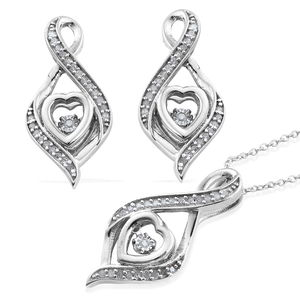 Diamond Platinum Over Sterling Silver Inner Love Earrings and Pendant With Chain (20 in) TDiaWt 0.35 cts, TGW 0.35 cts.