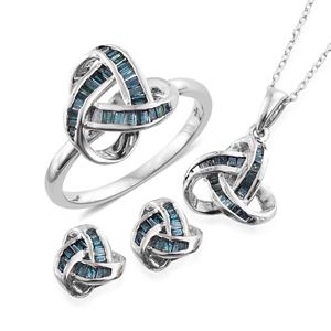 Blue Diamond (IR) Platinum Over Sterling Silver Knotted Earrings, Ring (Size 7) and Pendant With Chain (20 in) TDiaWt 1.00 cts, TGW 1.00 cts.