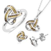 Yellow Diamond (IR) Platinum Over Sterling Silver Knotted Earrings, Ring (Size 7) and Pendant With Chain (20 in) TDiaWt 1.00 cts, TGW 1.00 cts.