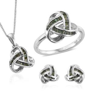 Green Diamond (IR) Platinum Over Sterling Silver Knotted Earrings, Ring (Size 6) and Pendant With Chain (20 in) TDiaWt 1.00 cts, TGW 1.00 cts.