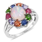 Ethiopian Welo Opal, Multi Gemstone Platinum Over Sterling Silver Ring (Size 9.0) TGW 4.27 cts.