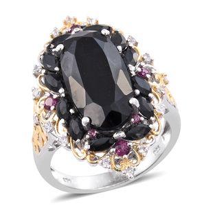Australian Black Tourmaline, Multi Gemstone 14K YG and Platinum Over Sterling Silver Ring (Size 5.0) TGW 12.87 cts.