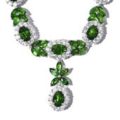 Russian Diopside, Cambodian Zircon Platinum Over Sterling Silver Princess Necklace (18 in) TGW 18.22 cts.