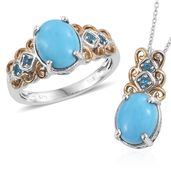 Arizona Sleeping Beauty Turquoise, Malgache Neon Apatite 14K YG and Platinum Over Sterling Silver Ring (Size 6) and Pendant With Chain (20 in) TGW 4.70 cts.