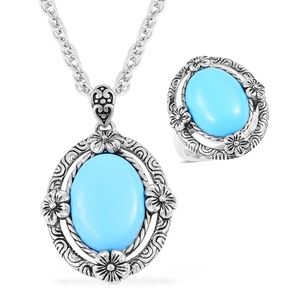 One Day TLV Blue Howlite Black Oxidized Stainless Steel Ring (Size 7) and Pendant With Chain (20 in) TGW 15.00 cts.