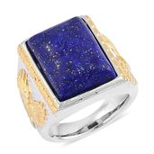 Lapis Lazuli ION Plated YG and Stainless Steel Men's Ring (Size 10.0) TGW 10.00 cts.