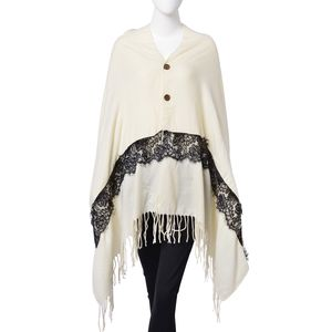 Ivory 100% Acrylic Button Shawl or Scarf with Black Embroidered Lace and Fringes (68x28 in)