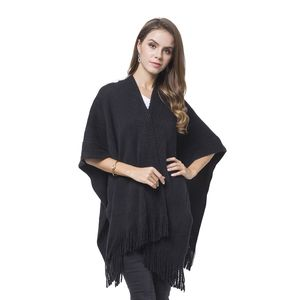 Black 100% Acrylic Knitted Pattern Kimono with Tassels (27.56x37.41 in)