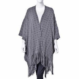 Dark Gray 100% Acrylic Square Pattern Kimono with Tassels (31.5x31.5 in)