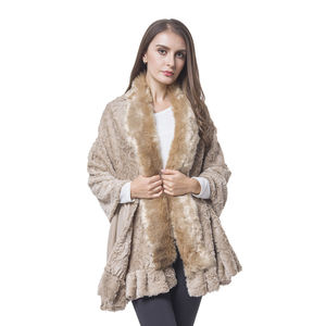 Khaki Rose Pattern 100% Polyester Velvet Faux Fur Wrap(70x29 in)