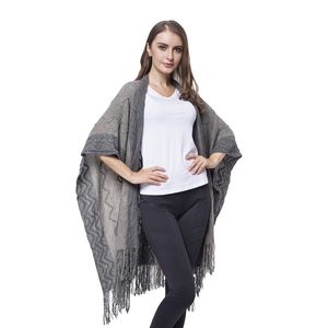 Dark and Light Grey 100% Acrylic Open Front Knitted Kimono (35.43x39.37 in)