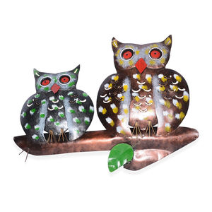 Multi Color Iron Double Owl Wall Hanging (14.56x1.57x11.81 in)