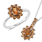 Serra Gaucha Citrine, Brazilian Citrine Platinum Over Sterling Silver Ring (Size 10) and Pendant With Chain (20 in) TGW 2.65 cts.