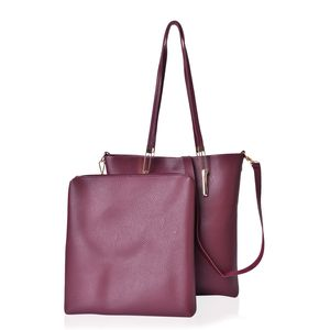 Burgandy Faux Leather Tote with Magnetic Clasp (11x2.5x13 in) and Mathching Elongated Pouch (11x1.5x11 in) with Removable Strap