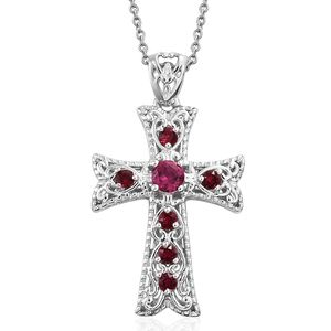 KARIS Collection - Lab Created Ruby Platinum Bond Brass Cross Pendant With Stainless Steel Chain (20 in) Made with SWAROVSKI Red Crystal TGW 1.12 cts.